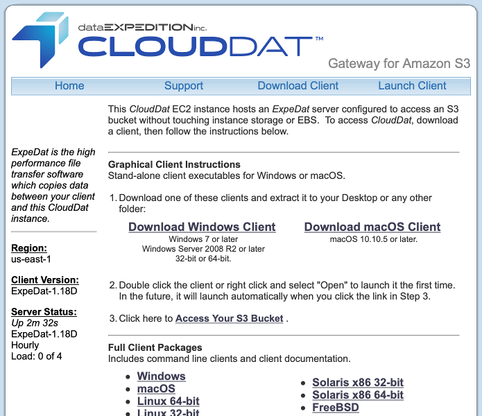 CloudDat Instance Page
